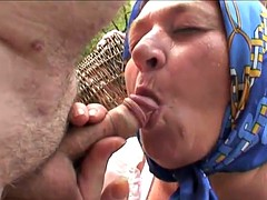 Old Couple With Hot Blonde Outdoor Threeway Fucking