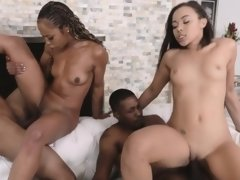Ebony mother and daugter's nice facial