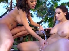 Two ladies get naked in the garden and then they make lesbian love