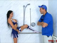 Big boob Cheerleader in the Boys Shower