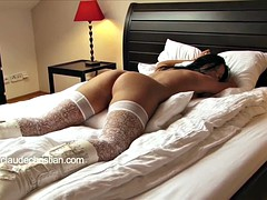 Big breasted tied girl in nylons tied fucked cum in pussy