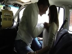 Horny MILF cheat in a cab