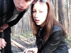 Teen couple cam in woodlands