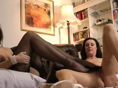 Hot stocking lesbos rub