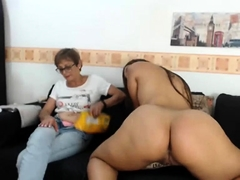 Granny and granny show boobs on webcam skype