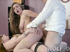 Horny lawyer has an orgy with her client and her colleague
