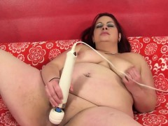 Ginger BBW babe toys her pussy with vibrator