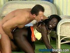 African babe having fun with long white boner