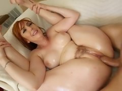 Redhead bitch with a bushy twat and big boobies needs a cock