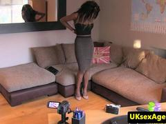 Ebony casting beauty throating at audition