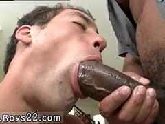 Perverted white dude swallows big black dick like a pro