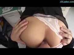 Office Female In Pantyhose Fingered Sucking Cock Fucked On The Chair In The Office