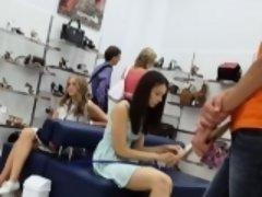 Young girl in pink panties upskirt