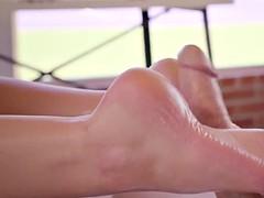 lily love giving him a sensual footjob