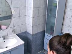Russian ballerina fucks herself in the bathroom