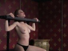 Nipple clamped sub gets pussyfingered