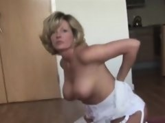 Blonde Milf With Big Tits Rubs Pussy in Used Underwear