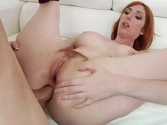 Hot redhead was not shirking her duty; she exposed ass for fuck