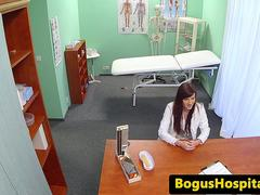 Real doctor fucks her naive colleague