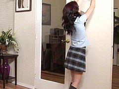 毛深い, 小柄, 赤毛, 女子高生, スカート, ティーン, ユニフォーム, スカートのぞき