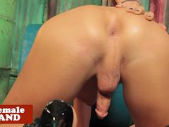 Solo bigtitted tgirl goddess rubs cock solo