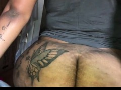 Amateur ebony milf teasing her black pussy with a toy