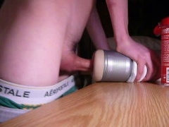 Sticky creampie a Fleshlight tush in the dorm