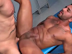big muscular hunk with strong dick fucking the other hunk