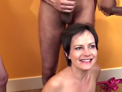 small titted housewive enjoys sausage fest in her mouth bukkake slut know how to handle all of these