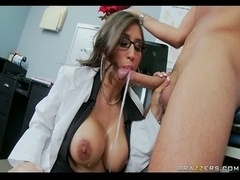 Big-breasted Brunette Doctor blows off  swallows patient's penis for