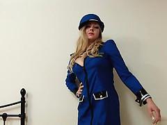 Blondine, Lingerie, Masturbation, Uniform