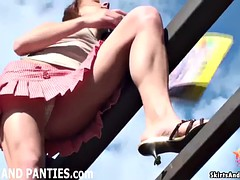 Cute country girl Lilia flashing her panties outdoors