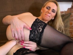 Kinky lesbian sex kittens are opening up and fist fucking an