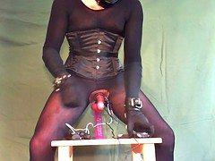 e-stim cum tied while, gagged, double vibrate and dildo