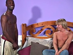 18 year old white man rides a black cock