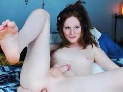 Sexy Brunette Tranny Fucks Her Tight Ass