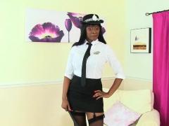 British milf Sarah Kelly looks seductive in police dress