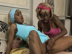 Lucky dude pounding two black girls