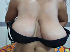 hot girl with huge tits toying pussy