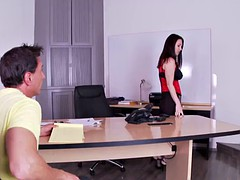 Busty footfetish babe gets fucked on table