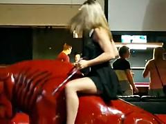 Girls riding mechanical bull