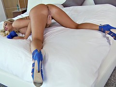 Lovely Blonde With Blue High Heels