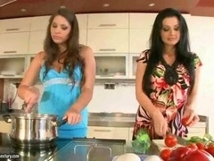 Busty beauties Aletta Ocean and also Zafira having lesbian fun in the kitchen.