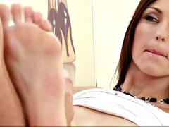 classy simone peach fondles him with feet and takes it up her ass
