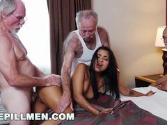 Gorgeous babe is excited to get banged by these old hunks with a huge cocks in different positions on the bed