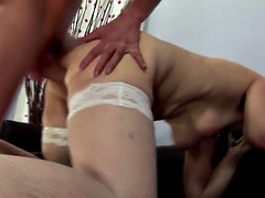 stepson fucks mom in ass and piss on her