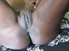 Ebony babe masturbates and squirts Part II