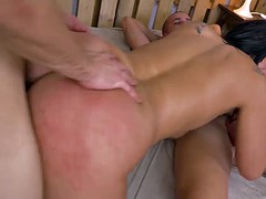 Big ass Spanish babe Clauda gets fucked by two thick dudes