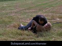 Dominator fucks his bondage slave on desert plain