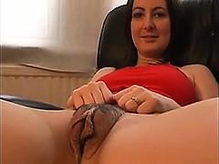 Amateur, Brunette brune, Poilue, Masturbation, Nylon, Solo